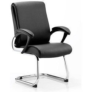 Image of Romeo Leather Visitor Chair - Black