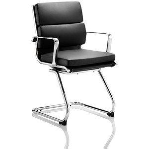Image of Savoy Leather Visitor Chair - Black