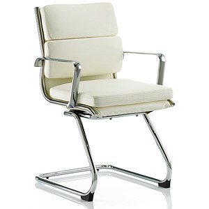 Image of Savoy Leather Visitor Chair - Ivory
