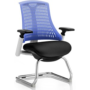 Image of Flex Visitor Chair / White Frame / Black Seat / Blue Back
