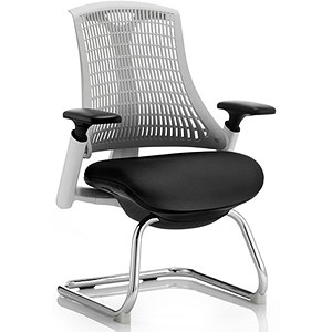 Image of Flex Visitor Chair / White Frame / Black Seat / Off-white Back