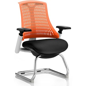 Image of Flex Visitor Chair / White Frame / Black Seat / Orange Back