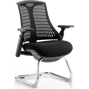 Image of Flex Visitor Chair / Black Frame / Black Seat / Black Back