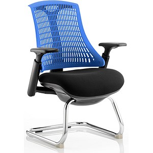 Image of Flex Visitor Chair / Black Frame / Black Seat / Blue Back