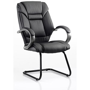 Image of Galloway Leather Visitor Chair - Black