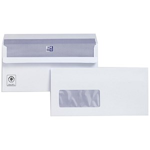 Image of Plus Fabric DL Wallet Envelopes with Window / White / Press Seal / 110gsm / Pack of 500