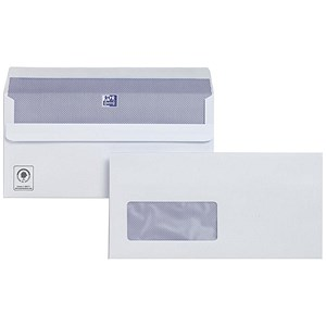 Image of Plus Fabric DL Wallet Envelopes with Window / White / Press Seal / 110gsm / Pack of 250