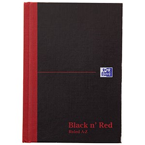 Image of Black n' Red Casebound Notebook / A6 / Ruled & Indexed A-Z / 192 Pages / Pack of 5