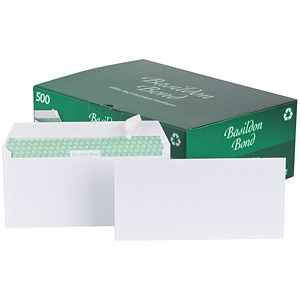 Image of Basildon Bond Recycled Plain DL Wallet Envelopes / White / Peel & Seal / 120gsm / Pack of 500