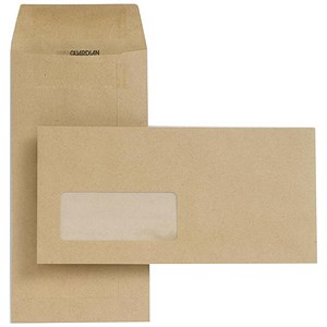 Image of New Guardian DL Pocket Envelopes with Window / Manilla / Press Seal / 80gsm / Pack of 1000