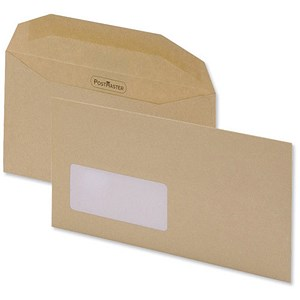 Image of Postmaster DL Wallet Envelopes with Window / Gummed / Manilla / Pack of 500