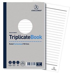 Image of Challenge Carbonless Triplicate Book / Ruled / 100 Sets / 210x130mm / Pack of 5