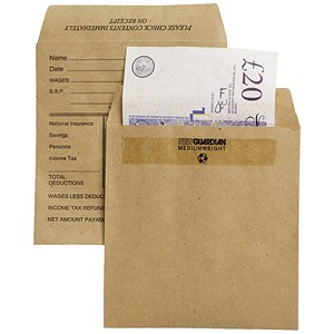 Image of New Guardian Wage Envelopes / 108x102mm / Press Seal / Pre Printed / Manilla / Pack of 1000