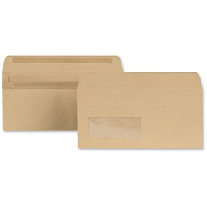 Image of New Guardian DL Wallet Envelopes with Window / Manilla / Press Seal / 80gsm / Pack of 1000