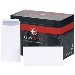 Image of Plus Fabric Plain DL Pocket Envelopes / White / Press Seal / 110gsm / Pack of 500