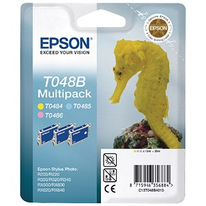 Image of Epson T048B40 Inkjet Cartridge MultiPack - Light Cyan, Light Magenta and Yellow (3 Cartridges)