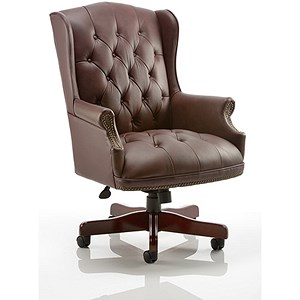 Image of Commoredore Leather Executive Chair - Burgundy