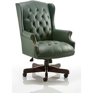 Image of Commoredore Leather Executive Chair - Green