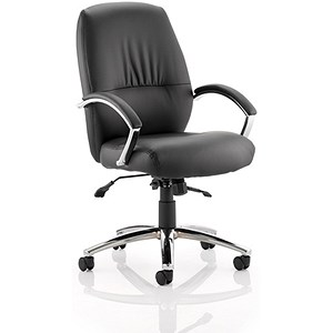 Image of Dune Medium Back Leather Executive Chair - Black