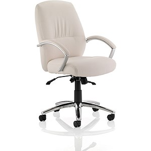 Image of Dune Medium Back Leather Executive Chair - White