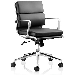 Image of Savoy Leather Executive Medium Back Chair - Black
