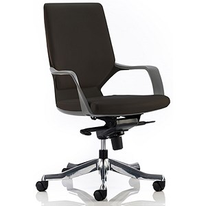 Image of Xenon Leather Executive Medium Back Chair - Black