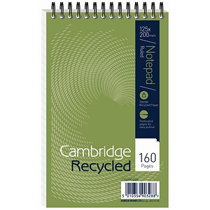Image of Cambridge Recycled Wirebound Notebook / 200x125mm / Ruled / 160 Pages / Pack of 10