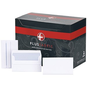 Image of Plus Fabric Wallet Envelopes / 89x152mm / White / Press Seal / 120gsm / Pack of 500