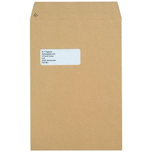 Image of New Guardian Heavyweight C4 Pocket Envelopes with Window / Manilla / Peel & Seal / Pack of 250
