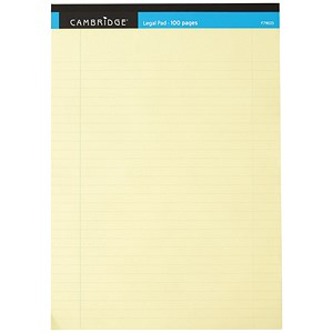 Image of Cambridge Legal Pad / Perforated / Feint Ruled with Margin / A4 / 100 Pages / Yellow / Pack of 10