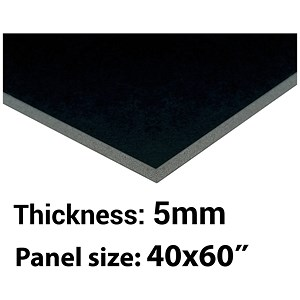 Image of Foamboard / 40'' x 60'' / Black / 5mm Thick / Box of 25