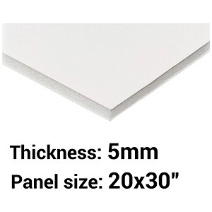 "Image of Foamboard / 20"" x 30"" / White / 5mm Thick / Box of 25"
