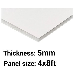 Image of Foamboard / 4ft x 8ft / White / 5mm Thick / Box of 25