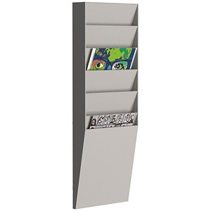 Image of Fast Paper Wall-Mounted Document Panel / 6 x A4 Pockets / Grey