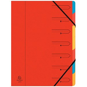 Image of Europa A4 Elasticated Organiser Files / 7-Part / Red