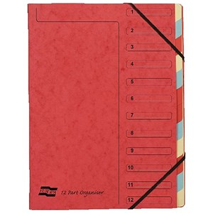 Image of Europa A4 Elasticated Organiser Files / 12-Part / Red