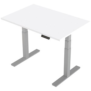 Image of Air Height Adjustable Desk / 1200mm / Silver Legs / White