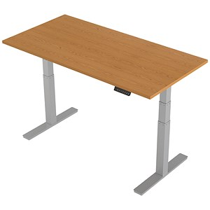 Image of Air Height Adjustable Desk / 1600mm / Silver Legs / Oak