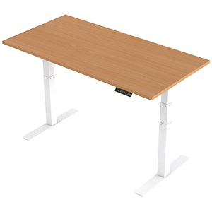Image of Air Height Adjustable Desk / 1600mm / White Legs / Beech