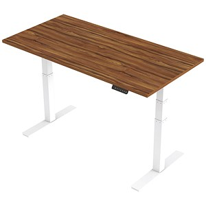 Image of Air Height Adjustable Desk / 1600mm / White Legs / Walnut