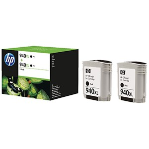 Image of HP 940XL High Yield Black Ink Cartridge (Twin Pack)