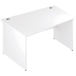 Image of Impulse Panel End Wave Desk / Left Hand / 1400mm Wide / White