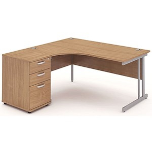 Image of Impulse Radial Desk with 600mm Pedestal / Left Hand / 1600mm Wide / Beech