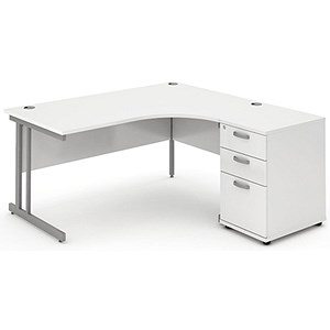 Image of Impulse Corner Desk with 600mm Pedestal / Right Hand / 1800mm Wide / White