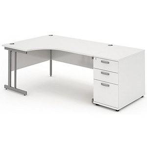 Image of Impulse Radial Desk with 800mm Pedestal / Left Hand / 1600mm Wide / White