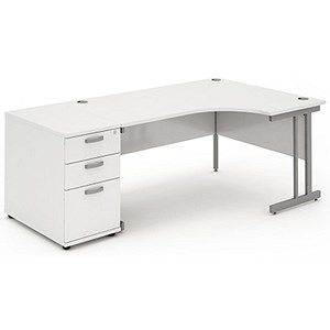 Image of Impulse Radial Desk with 800mm Pedestal / Right Hand / 1800mm Wide / White