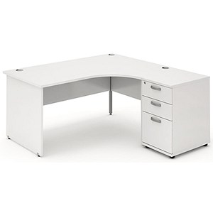 Image of Impulse Panel End Radial Desk with 600mm Pedestal / Right Hand / 1600mm Wide / White