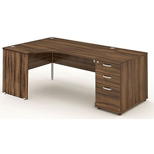 Image of Impulse Panel End Corner Desk with 800mm Pedestal / Left Hand / 1800mm Wide / Walnut
