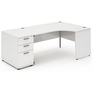 Image of Impulse Panel End Radial Desk with 800mm Pedestal / Right Hand / 1600mm Wide / White