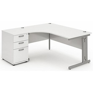 Image of Impulse Plus Radial Desk with 600mm Pedestal / Left Hand / 1600mm Wide / White